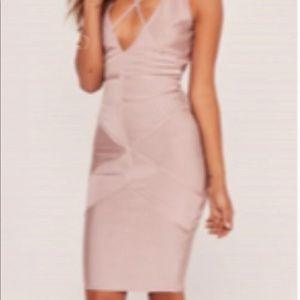Missguided   Champagne Pink Premium Bandage Dress